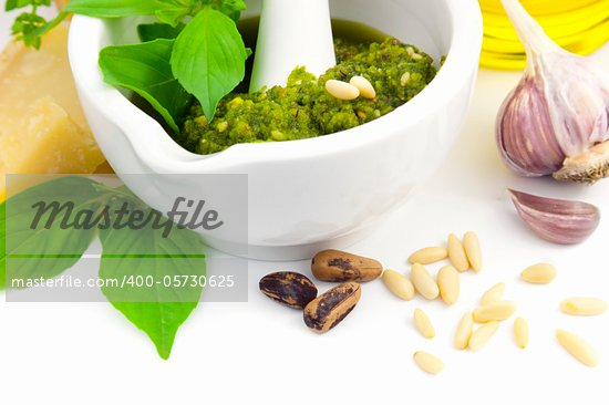 Fresh Italian Pesto and its ingredients / isolated on white Stock Photo - Royalty-Free, Artist: TAIGA                         , Code: 400-05730625