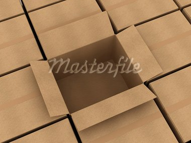 Opened cardboard box and some clossed boxes Stock Photo - Royalty-Free, Artist: tashatuvango                  , Code: 400-05730842