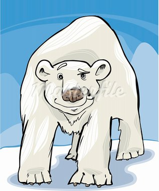 cartoon illustration of funny white polar bear Stock Photo - Royalty-Free, Artist: izakowski                     , Code: 400-05730854