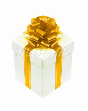 Beautiful white gift box with golden ribbon bow isolated on white Stock Photo - Royalty-Free, Artist: tetkoren                      , Code: 400-05731114