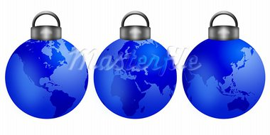 Three Christmas Tree Ornaments with World Map Isolated on White Background Illustration Stock Photo - Royalty-Free, Artist: jpldesigns                    , Code: 400-05731225