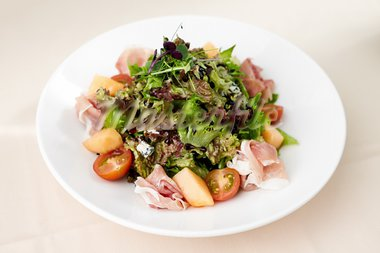 Green salad with Parma ham and melon Stock Photo - Royalty-Free, Artist: mtoome                        , Code: 400-05731311