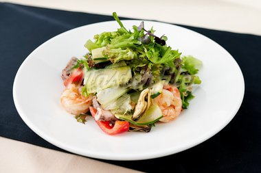 Fresh seafood salad with shrimps on a plate Stock Photo - Royalty-Free, Artist: mtoome                        , Code: 400-05731313