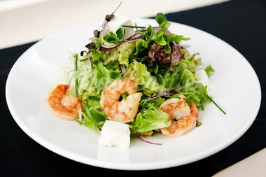 Greek salad with feta cheese and smoked shrimp Stock Photo - Royalty-Free, Artist: mtoome                        , Code: 400-05731315