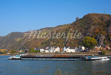 boats on the rhine Stock Photo - Royalty-Free, Artist: rbouwman                      , Code: 400-05732547