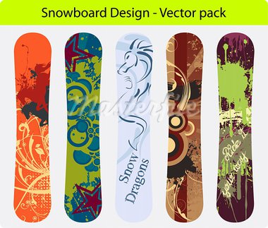 Snowboard design pack - five full editable designs - vector Illustration Stock Photo - Royalty-Free, Artist: AlexCiopata                   , Code: 400-05732813