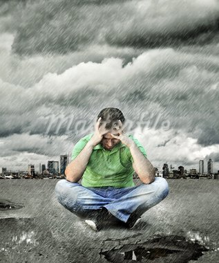 Young man who sits on asphalt and thinking Stock Photo - Royalty-Free, Artist: silent47                      , Code: 400-05733084