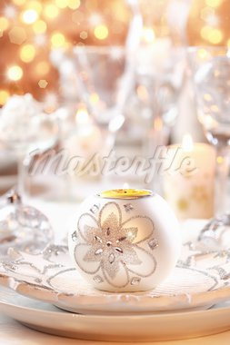 Place setting for Christmas in white and golden tone Stock Photo - Royalty-Free, Artist: Brebca                        , Code: 400-05733110