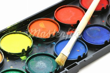Used water color paint box with a brush close up Stock Photo - Royalty-Free, Artist: Danicek                       , Code: 400-05733920