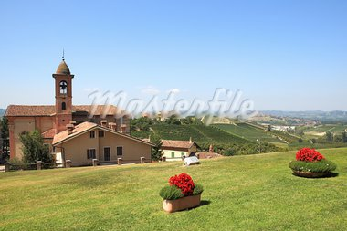 View on old church and green lawn in Grinzane Cavour - small town in northern Italy. Stock Photo - Royalty-Free, Artist: rglinsky                      , Code: 400-05734008