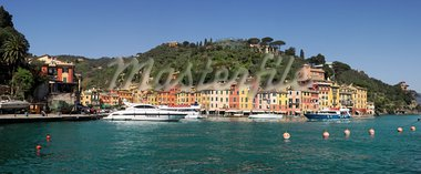 Panoramic view on bay and Portofino - small town on Ligurian Sea in Italy. Stock Photo - Royalty-Free, Artist: rglinsky                      , Code: 400-05734016