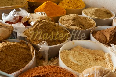 Beautiful vivid oriental market with baskets full of various spices Stock Photo - Royalty-Free, Artist: Fyletto                       , Code: 400-05734035