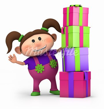 cute cartoon girl waving from behind pile of presents- high quality 3d illustration Stock Photo - Royalty-Free, Artist: braverabbit                   , Code: 400-05734069