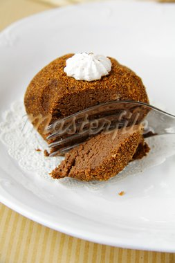 A piece of chocolate cake with vanilla cream Stock Photo - Royalty-Free, Artist: Dream79                       , Code: 400-05734202