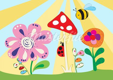 Cheerful children's meadow. Vector illustration Stock Photo - Royalty-Free, Artist: ptits_ptits                   , Code: 400-05734291