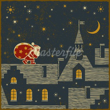 Santa Claus on the roof delivers gifts. Vector illustration in retro style. Stock Photo - Royalty-Free, Artist: iatsun                        , Code: 400-05734438