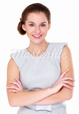 Cute business woman portrait isolated over a white background Stock Photo - Royalty-Free, Artist: dash                          , Code: 400-05734560