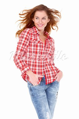 Lovely young woman in casual clothing, white background Stock Photo - Royalty-Free, Artist: dash                          , Code: 400-05734566