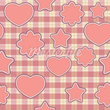 Seamless pattern with pink applications on checkered background Stock Photo - Royalty-Free, Artist: Linusy                        , Code: 400-05734795