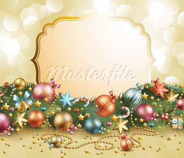 Christmas vintage garland with baubles and christmas tree. Vector illustration Stock Photo - Royalty-Free, Artist: avian                         , Code: 400-05734814