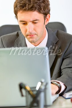 Portrait of modern businessman sitting at office desk and working on laptop   Stock Photo - Royalty-Free, Artist: citalliance                   , Code: 400-05735106