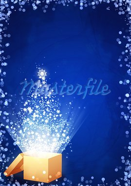 Christmas gift - vertical background with magic box Stock Photo - Royalty-Free, Artist: frenta                        , Code: 400-05735198
