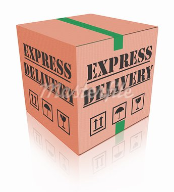 express delivery fast sending speed parcel posting cardboard box package shipment ship order Stock Photo - Royalty-Free, Artist: kikkerdirk                    , Code: 400-05735346