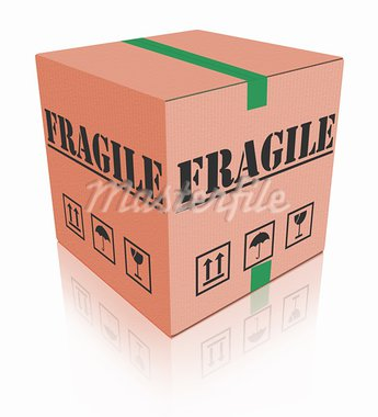fragile post package sending delicate shipment cardboard box Stock Photo - Royalty-Free, Artist: kikkerdirk                    , Code: 400-05735348