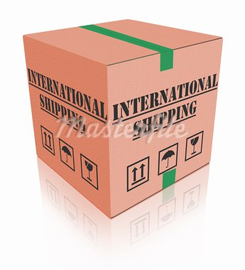 international shipping worldwide global sending of cardboard box package delivery  delivering online order internet shop Stock Photo - Royalty-Free, Artist: kikkerdirk                    , Code: 400-05735364