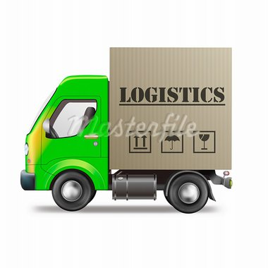 logistics delivery truck with cardboard box freight package transportation Stock Photo - Royalty-Free, Artist: kikkerdirk                    , Code: 400-05735402