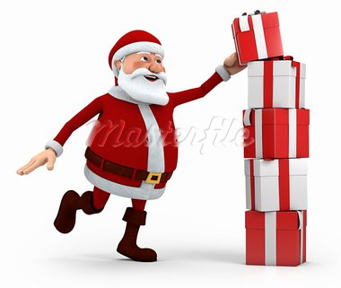 cute cartoon santa claus stacking presents - high quality 3d illustration Stock Photo - Royalty-Free, Artist: braverabbit                   , Code: 400-05736342