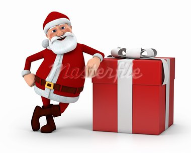 cute cartoon Santa Claus leaning against present - high quality 3d illustration Stock Photo - Royalty-Free, Artist: braverabbit                   , Code: 400-05736345