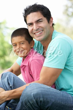 Father And Son In Park Stock Photo - Royalty-Free, Artist: MonkeyBusinessImages          , Code: 400-05736769