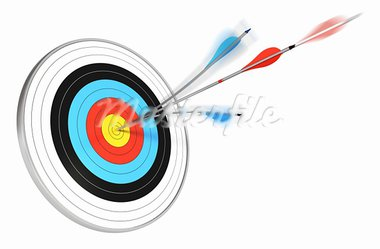 one blue arrow splitted with a red arrow hitting the center of a target, 3d render over white background Stock Photo - Royalty-Free, Artist: olivier26                     , Code: 400-05736848