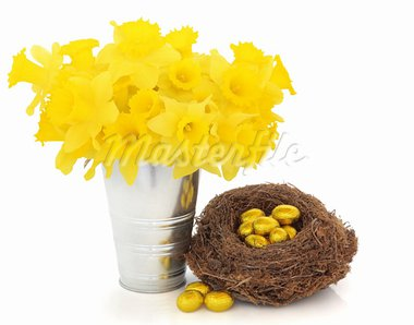 Easter egg group wrapped in gold foil in a birds nest with daffodil flowers in an aluminum vase isolated over white background. Stock Photo - Royalty-Free, Artist: marilyna                      , Code: 400-05736878