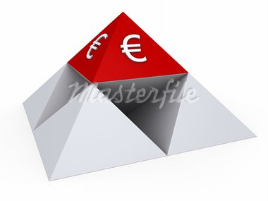3d pyramids form a bigger pyramid with red top and Euro sign Stock Photo - Royalty-Free, Artist: MasterofAll686                , Code: 400-05737888