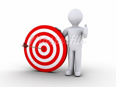 3d person is holding a target with an arrow on its center Stock Photo - Royalty-Free, Artist: MasterofAll686                , Code: 400-05737889