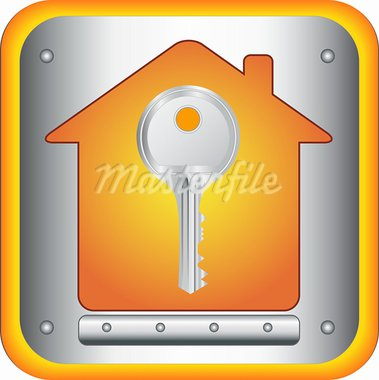 beautiful silver key on house silhouette background Stock Photo - Royalty-Free, Artist: keltt                         , Code: 400-05738352