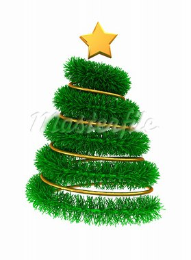 3d illustration of christmas tree with golden decorations Stock Photo - Royalty-Free, Artist: madmaxer                      , Code: 400-05738529