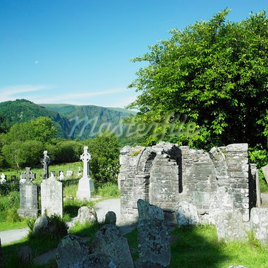 St. Kevins Monastery, Glendalough, County Wicklow, Ireland Stock Photo - Royalty-Free, Artist: phbcz                         , Code: 400-05739351