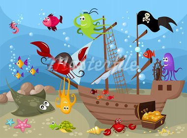 vector illustration of a sea life Stock Photo - Royalty-Free, Artist: nem4a                         , Code: 400-05739521