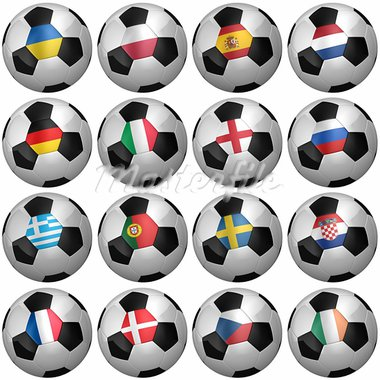 All participating teams of the European Soccer Championship of 2012 - clipping paths for each soccer ball included Stock Photo - Royalty-Free, Artist: badboo                        , Code: 400-05739554