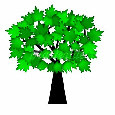 Green Leaves on Tree  in Summer Illustration Isolated on White Background Stock Photo - Royalty-Free, Artist: jpldesigns                    , Code: 400-05740554