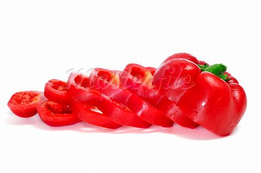 a red pepper cut into slices on a white background Stock Photo - Royalty-Free, Artist: nito                          , Code: 400-05741075