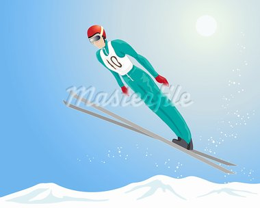 an illustration of a ski jumper in the air with snowflakes and a blue sky background Stock Photo - Royalty-Free, Artist: emjaysmith                    , Code: 400-05741617