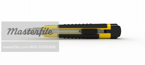 3D Yellow Utility Knife Isolated on White Background Stock Photo - Royalty-Free, Artist: tashatuvango                  , Code: 400-05741658