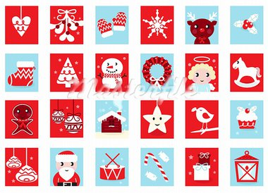 Christmas icons and design elements - red and blue. Vector cartoon Illustration.  Stock Photo - Royalty-Free, Artist: lordalea                      , Code: 400-05742150