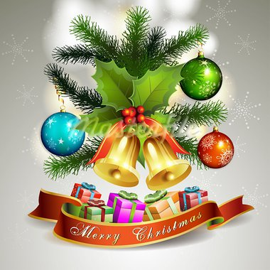 Christmas ball with pine tree and bells Stock Photo - Royalty-Free, Artist: Merlinul                      , Code: 400-05742205
