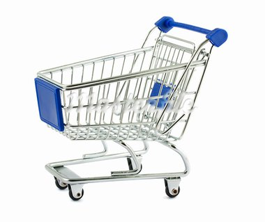 Metal shopping cart isolated on white background Stock Photo - Royalty-Free, Artist: Mbongo                        , Code: 400-05742239