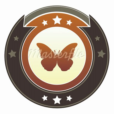 Butterfly icon on round red and brown imperial vector button with star accents suitable for use on website, in print and promotional materials, and for advertising. Stock Photo - Royalty-Free, Artist: lhfgraphics                   , Code: 400-05742299